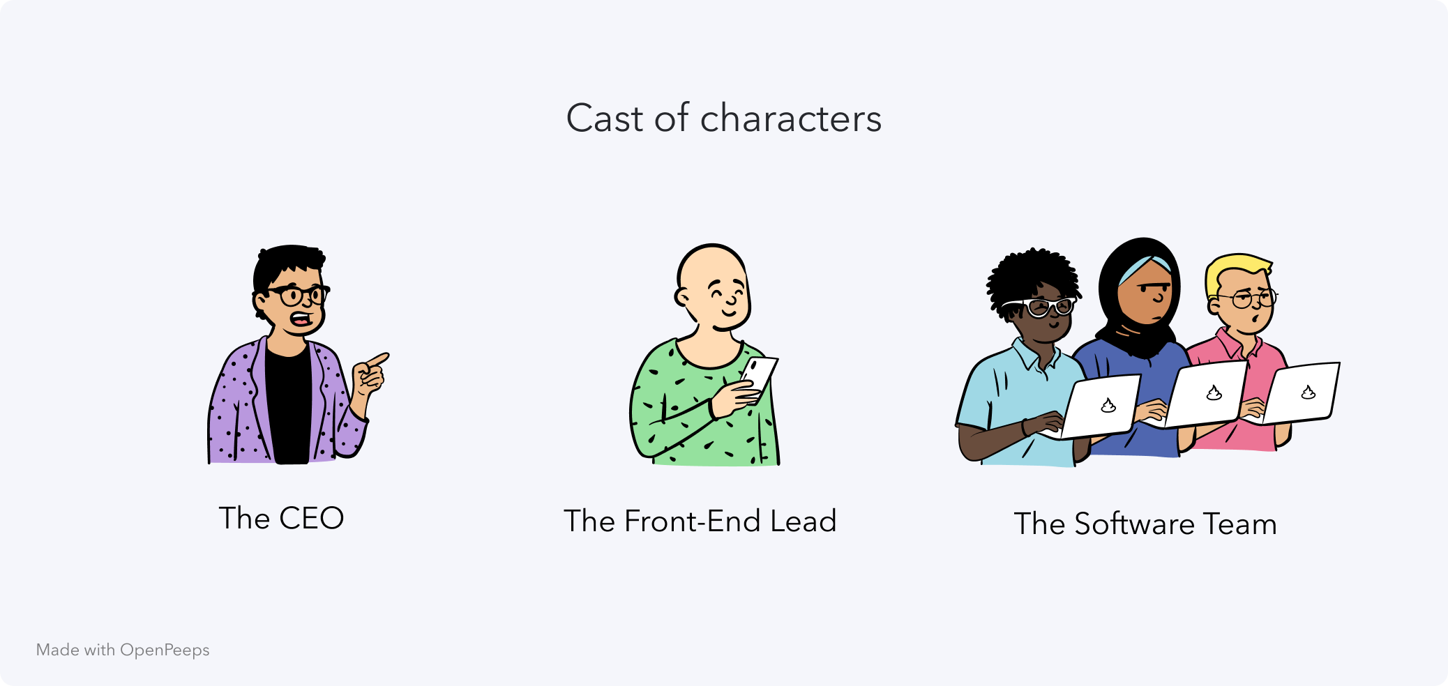 An illustration shows the cast of characters for this mystery: the CEO, the Front-End Lead and a group of Software Team members.
