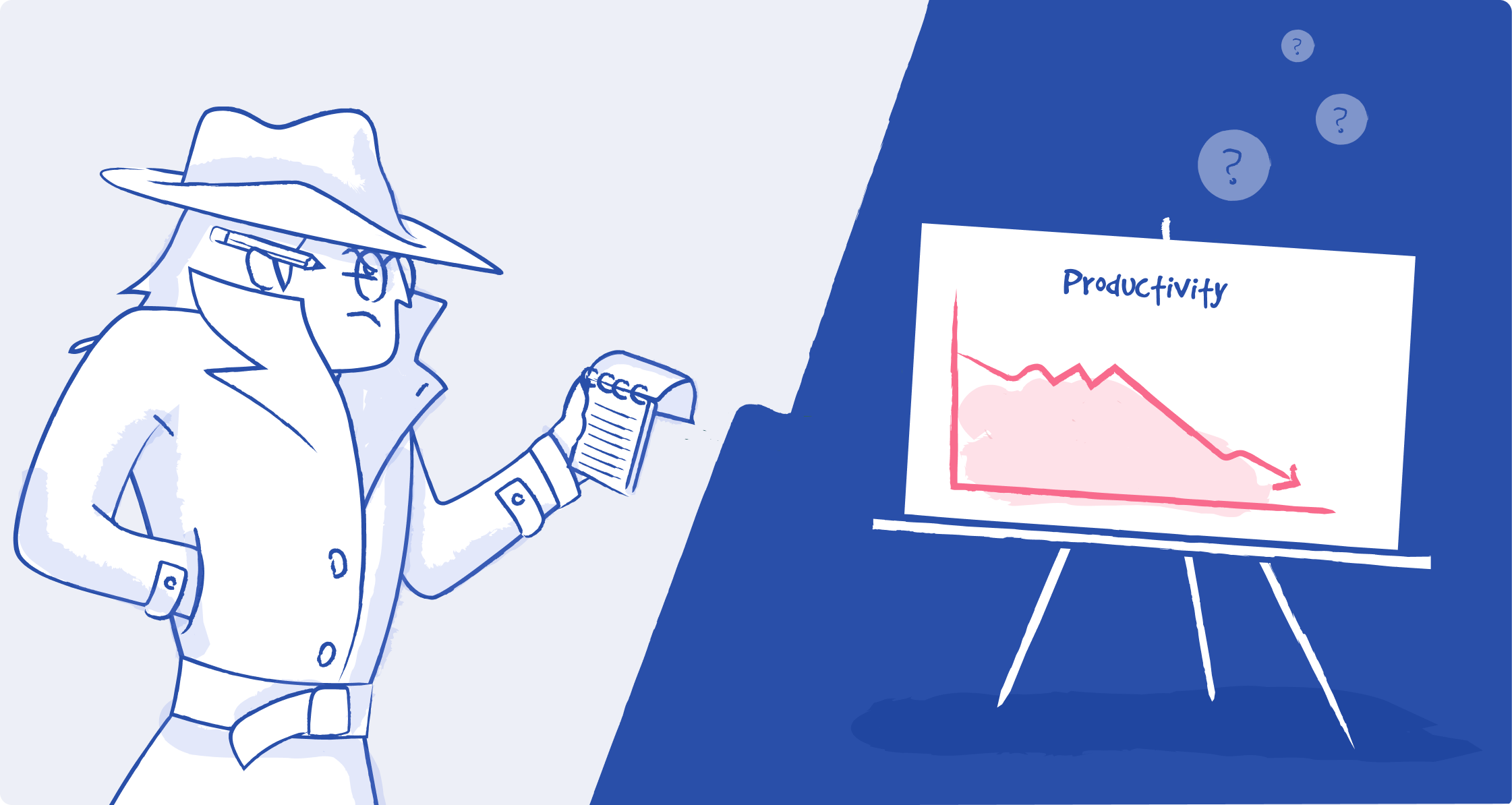 This illustration is split in two. On the left is a detective in a trenchcoat holding a notepad. On the right is a presentation board on a tripod showing a productivity graph with a downward arrow.